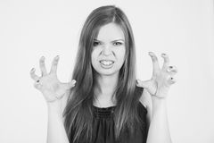 Very angry mother. monochrome Stock Photos