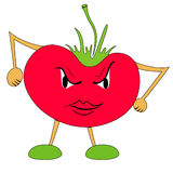 Very angry tomato. Vector illustration Stock Photography