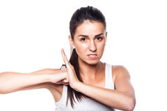Very angry young girl on white Stock Photo