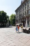 Very antique apartments with large park. Salsomaggiore Stock Image