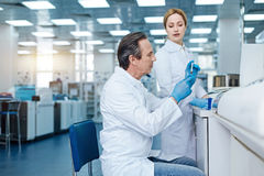 Very attentive technician working in the laboratory Royalty Free Stock Image