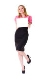 Very Attractive Female Holds Blank Board,isolated Royalty Free Stock Photography