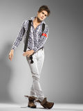 Very attractive young male model looking away stock images