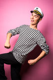 Very attractive young man model dressed like a sailor - studio shoot Royalty Free Stock Image