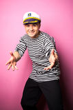 Very attractive young man model dressed like a sailor - studio shoot Stock Photos