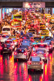 Very bad traffic of Bangkok city in the evening after rain Stock Image