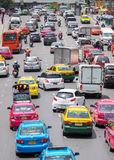 Very bad traffic in the center of Bangkok city Stock Image