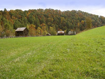 A Very Barny Day. A picturesque rural Autumn setting with a pasture, barns, and changing leaves on a mountainside stock photo