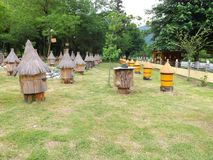Beautiful houses for bees. Very beautiful beehives for bees in Adygea. Bring a smile and joy stock photo