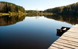Very beautiful, blue lake. Very beautiful lake finding in wood Royalty Free Stock Photos