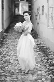 Very beautiful brunette in a wedding dress Royalty Free Stock Images