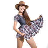 Beautiful sexy country and western girl Stock Photos