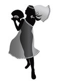 Dancing girl silhouette. Very beautiful dancing woman with fans royalty free illustration