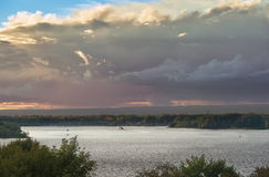 Very beautiful evening sky at sunset over the great Russian rive Volga (September 2016) Royalty Free Stock Photos