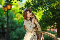A very beautiful fashionable girl with a brown-haired hat in the. Hands of a Bengal cat, in a green park stock photos