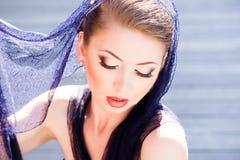 Very beautiful model wearing make-up Stock Photos