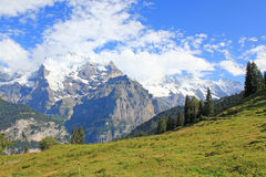 Very beautiful mountain landscape with glaciers in Switzerland. Beautiful mountain landscape with glaciers and the famous mountain the Jungfrau in Switzerland royalty free stock photo