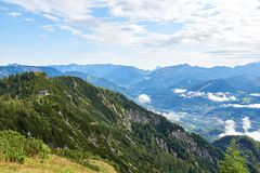 Very beautiful mountain landscape with a wooden house on a slope. Alps, Salzkammergut region, Bad Goisern, Austria stock image