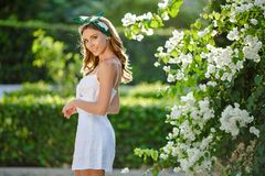 Free Very Beautiful Sensual And Girl In A White Dress And Solohe Stock Photos - 126813953