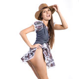 Beautiful sexy and half naked country and western girl Royalty Free Stock Image