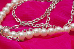 Very beautiful silver pearl necklace Stock Photography