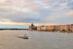 Very beautiful sunset  in Budapest. Danube river embankment Stock Photos