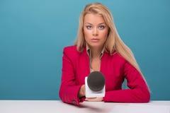 Very beautiful TV presenter Royalty Free Stock Image