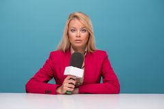 Very beautiful TV presenter Stock Images