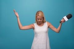 Very beautiful TV presenter Stock Photo