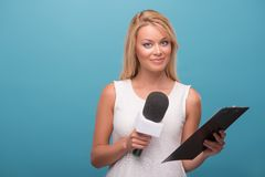 Very beautiful TV presenter Royalty Free Stock Images