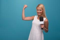 Very beautiful TV presenter Stock Image