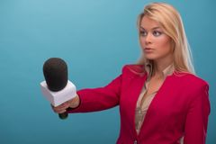 Very beautiful TV presenter Stock Photography