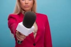 Very beautiful TV presenter Royalty Free Stock Photography
