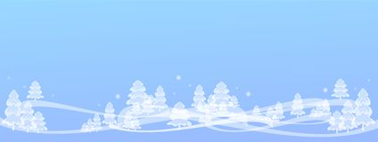 winter illustration background light blue, snowy fairy forest & snowflakes, light, transparent like ice or glass. royalty free illustration