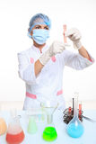 Very beautiful Woman chemist and chemicals in Royalty Free Stock Photos