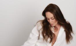 Very Beautiful Woman on Grey Royalty Free Stock Photos