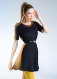 Very beautiful woman posing in black dress Royalty Free Stock Images