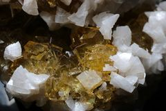 Very beautiful Yellow Fluorite with white Dolomite. Specimen of yellow, lustrous fluorite with `snow white` dolomite crystals. Top contrast from Moscona Mine stock image