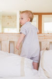 Very beautufil cute baby boy standing Royalty Free Stock Photography