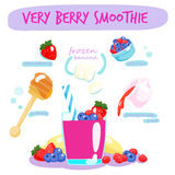 Very berry smoothie with banana  Stock Images