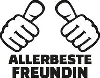 Very best girlfriend german with thumbs Royalty Free Stock Photography
