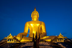 Very big Buddha Statue. At Twilight time in Thailand Stock Photo