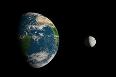 Very big Earth. A big Earth and a small Moon on a black background Stock Illustration