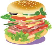 Very big sandwich on a napkin Royalty Free Stock Photography