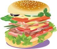 Very big sandwich on a napkin. Vector. illustration Royalty Free Stock Photography