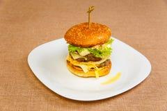 Very big and tasty hamburger Royalty Free Stock Images