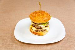 Very big and tasty hamburger Stock Photography