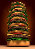 Very big Tower Hamburger. 3d image of Very High and colorful and tasty Hamburger Royalty Free Stock Images