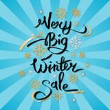 Very Big Winter Sale Inscription on Snowflakes Royalty Free Stock Photos