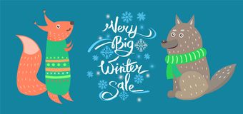Very Big Winter Sale Vector Icons Squirrel Wolf Royalty Free Stock Photography